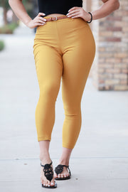 [DOUBLE ICON] SO STRETCHY HIGH WAISTED PANTS - YELLOW
