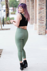 [DOUBLE ICON] SO STRETCHY HIGH WAISTED PANTS - OLIVE