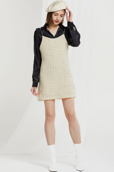Finn Pinafore Slip Dress in Tweed