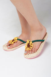 storets.com Flower Point Straw Flip Flops-Beige
