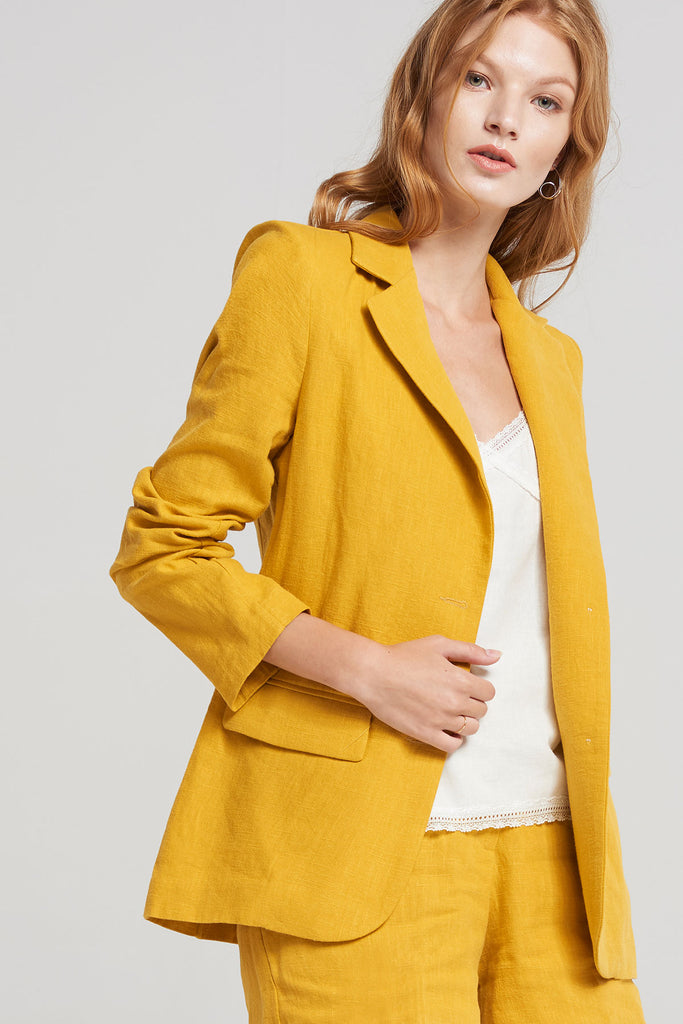 Giselle Full Linen Jacket-Yellow