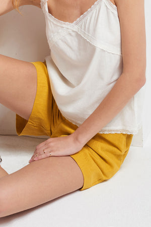 Giselle Full Linen Shorts-Yellow