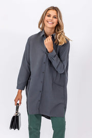 DOUBLE ICON - CROSS MY MIND SHIRT DRESS - SLATE - Shop Double Icon