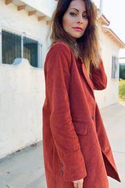 [DOUBLE ICON] TIMELESS LONG BLAZER COAT RUST - Shop Double Icon