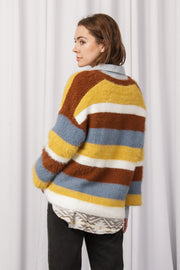 [DOUBLE ICON] SEE THE CHANGE STRIPED SWEATER - MUSTARD