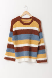 DOUBLE ICON - SEE THE CHANGE STRIPED SWEATER - MUSTARD - Shop Double Icon