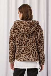 [DOUBLE ICON] WILD THOUGHTS FAUX FUR JACKET - MUSHROOM