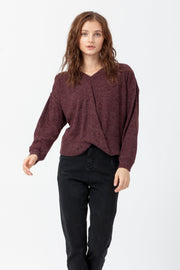 [DOUBLE ICON] SEE THE GOOD TWIST FRONT SWEATER - BURGUNDY