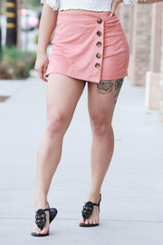 CYNTHIA LEU - CUTE AS A BUTTON FAUX SUEDE SKORT - PINK - Shop Double Icon