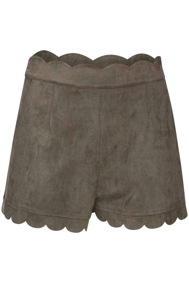 CYNTHIA LEU - SCALLOPED FAUX SUEDE SHORTS - OLIVE - Shop Double Icon