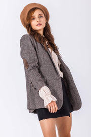 [DOUBLE ICON] CELESTE HERRINGBONE BLAZER - BROWN - Shop Double Icon