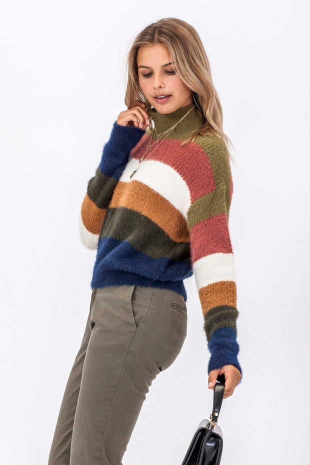 DOUBLE ICON - COLOR ME COZY FUZZY SWEATER - OLIVE - Shop Double Icon