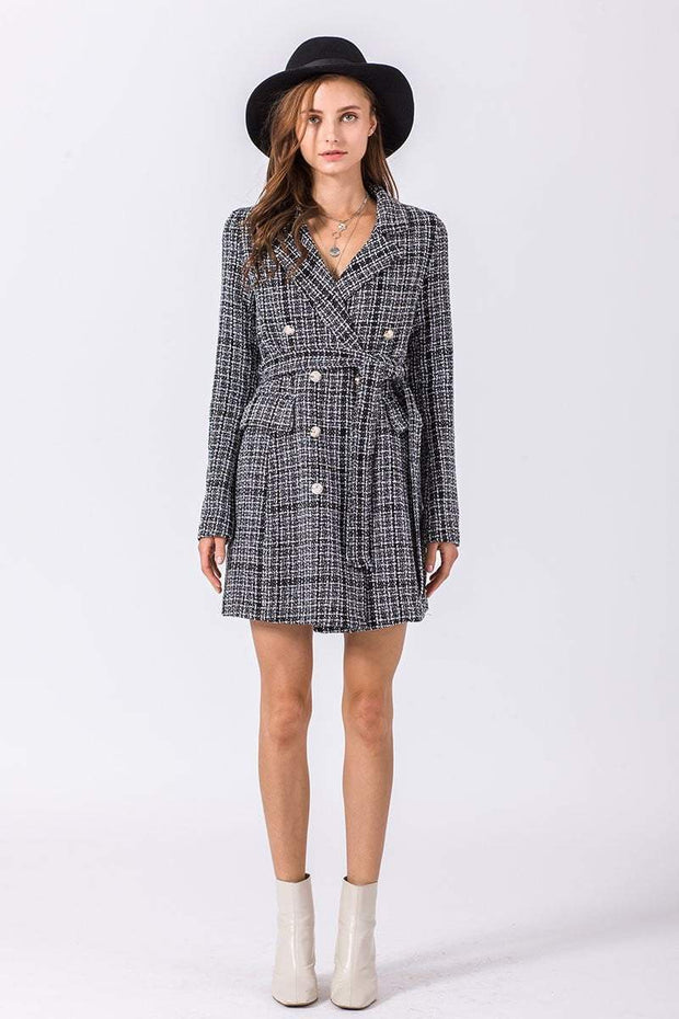 [DOUBLE ICON] MADEMOISELLE TWEED COAT - BLACK - Shop Double Icon