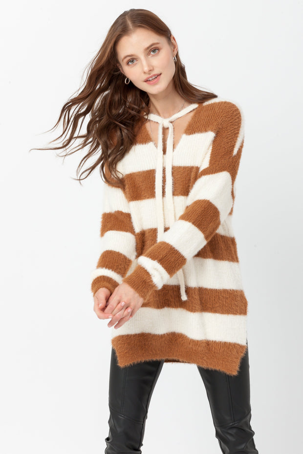 DOUBLE ICON - ENDEARING BLOCK STRIPE KNIT SWEATER - CAMEL - Shop Double Icon