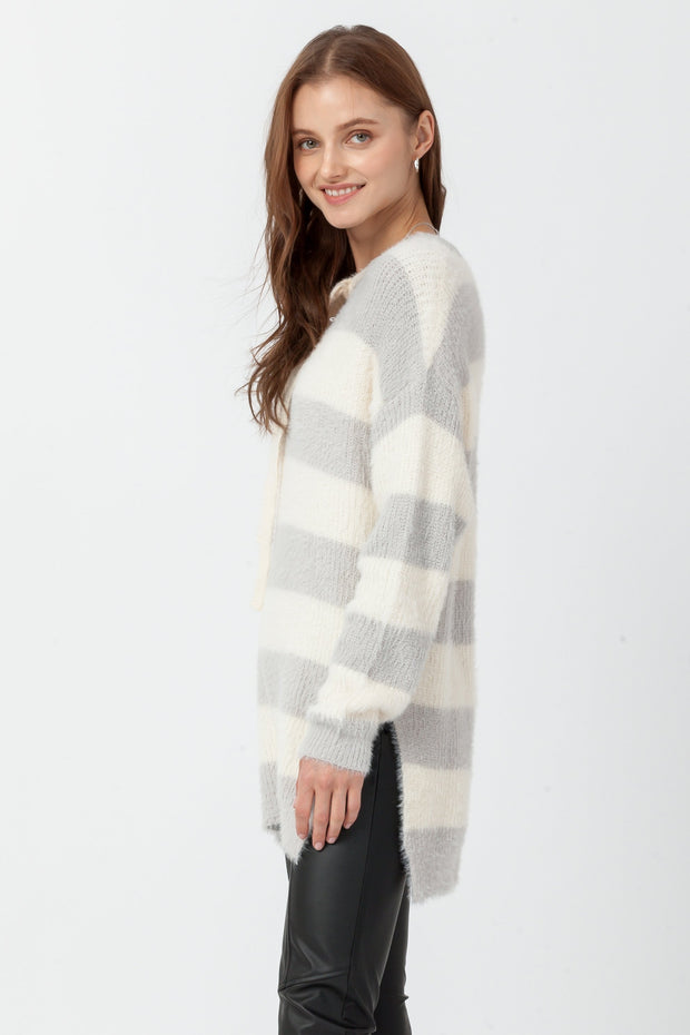 DOUBLE ICON - ENDEARING BLOCK STRIPE KNIT SWEATER - GRAY - Shop Double Icon