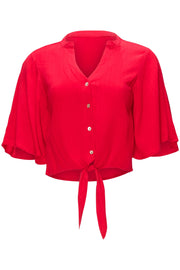 [DOUBLE ICON] SPRING FLING BUTTON DOWN TOP - RED