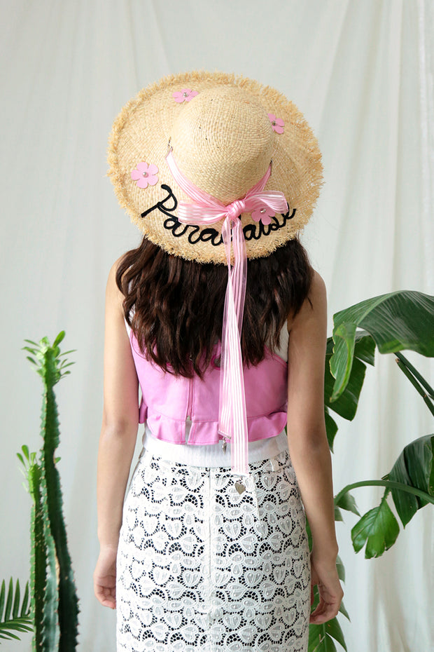 [VVV] PARADAISE PINK FLOWER RIBBON RAFFIA HAT