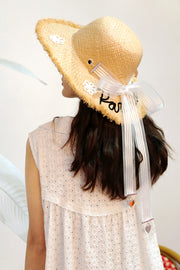 [VVV] PARADAISE WHITE FLOWER RIBBON RAFFIA HAT