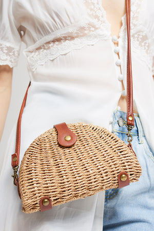 Half Moon Straw Bag-Brown
