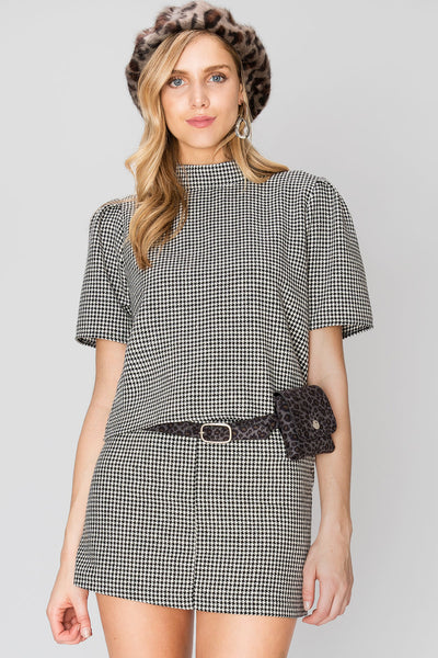 Half Neck Glen Check Top and Skirt