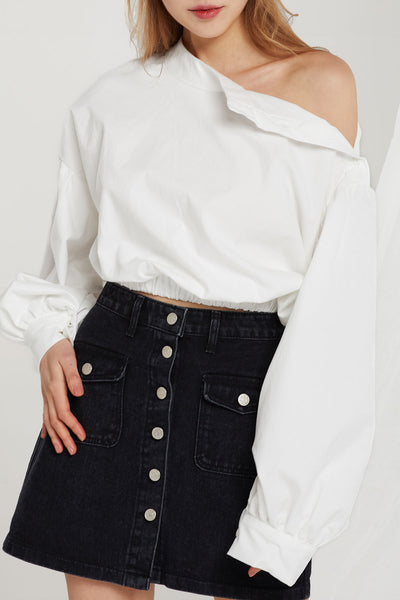 Hazel Asymmetric Crop Shirt
