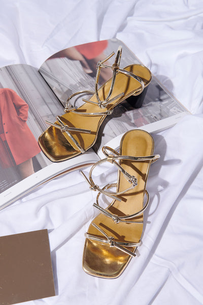 Heeled Tied-up Strap Sandals-Gold