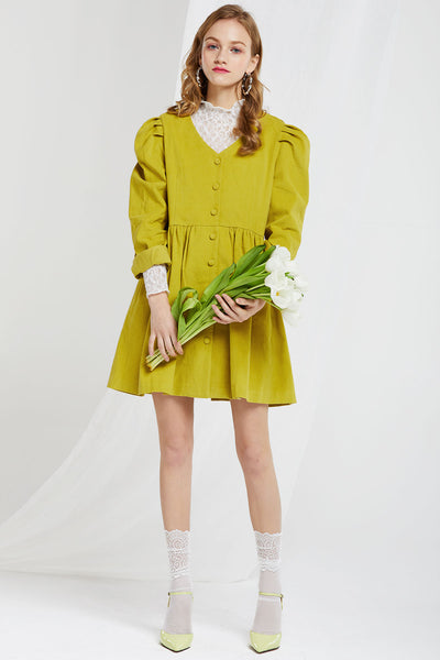 Hidy Puff Sleeves Corduroy Dress