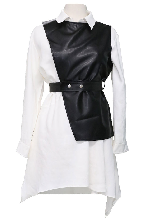 Knox Pleather Vest and Dress Set