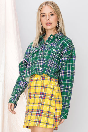 Lynn Cropped Plaid Jacket