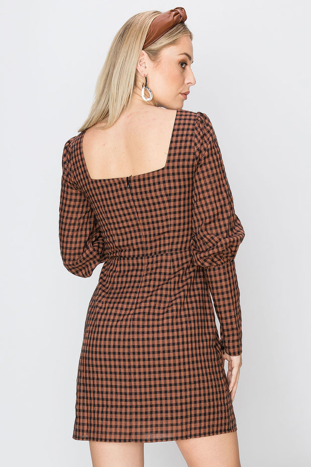 storets.com Celly Plaid Square Neck Short Dress