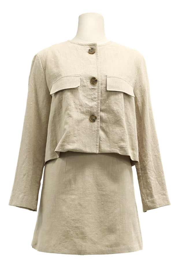 Delaney Linen Round Neck Jacket