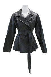 Layla Pintuck Pleather Jacket w/Belt