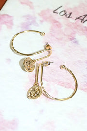 Coin Hoop Earrings by STORETS