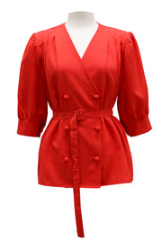 storets.com Haylee Double Breast Belted Blouse