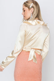 storets.com Liza Back Tied Wrap Ruffle Satin Woven Top