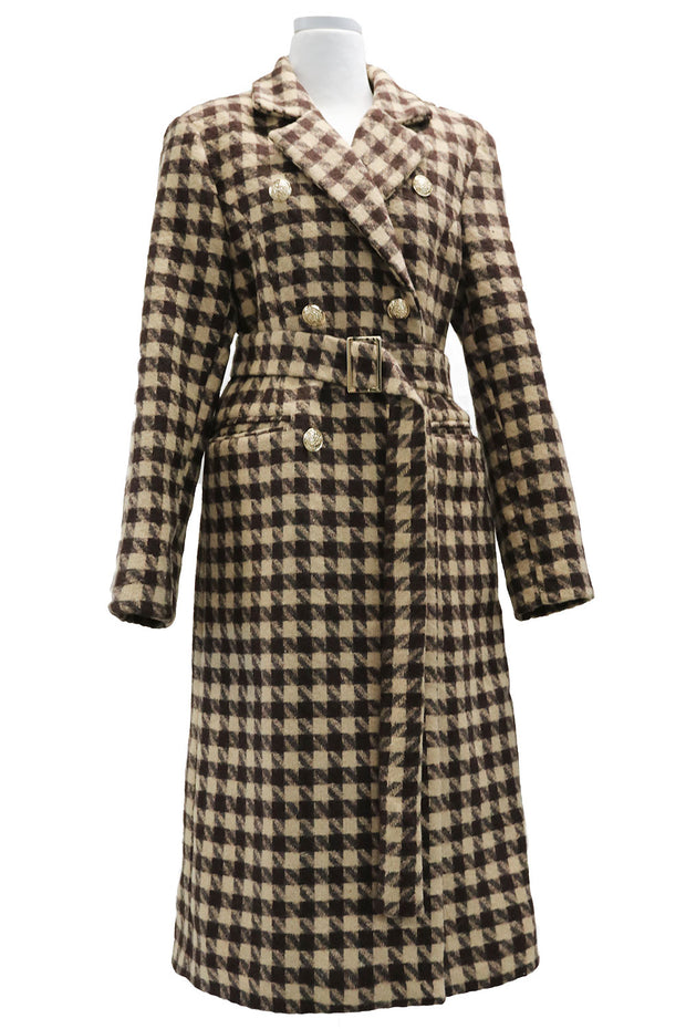 Hannah Houndstooth Coat w/Belt