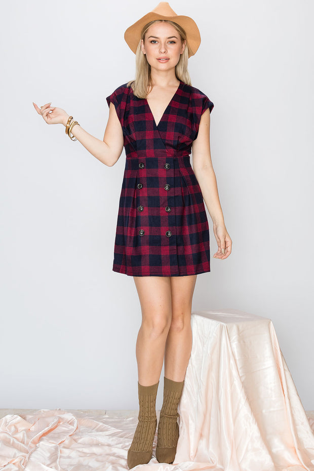 Cassidy Plaid Collarless Dress-2 Colors