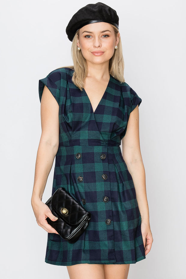 storets.com Cassidy Plaid Collarless Dress-2 Colors