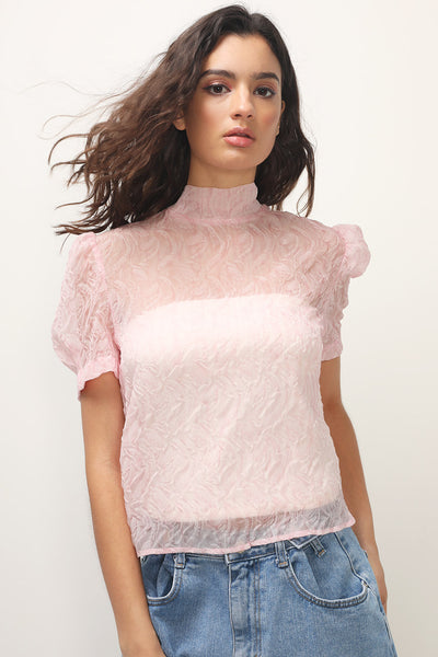 storets.com Felicity Textured Turtle Neck Blouse