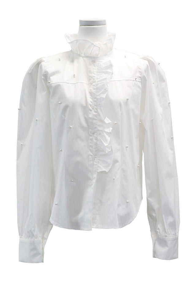 Victoria Pearl Embellished Ruffle Blouse
