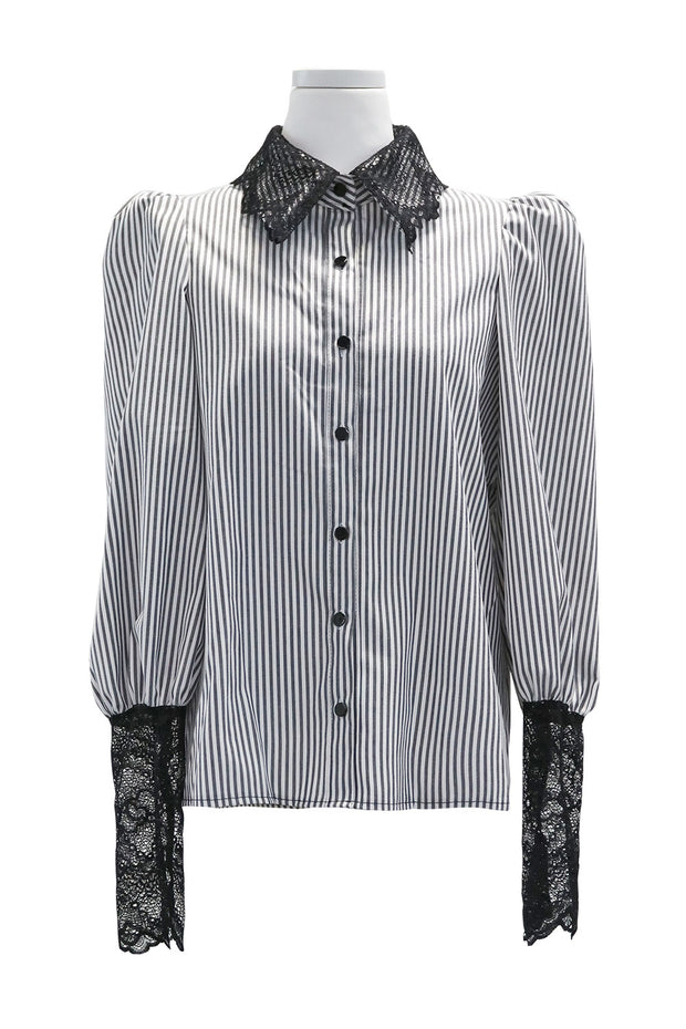 Madison Lace Collar Striped Blouse