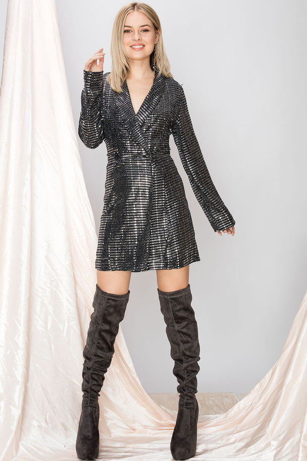 Harlen Metallic Blazer Dress-2 Colors