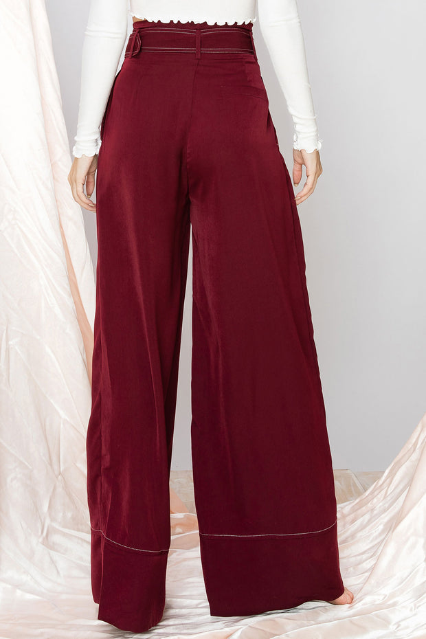 Jinny Stitch Wide Leg Pants with Belt