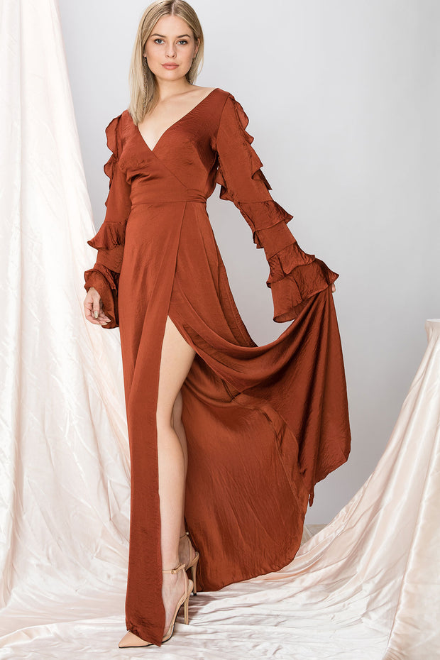 storets.com Olivia Charmeuse Wrap Dress-2 Colors