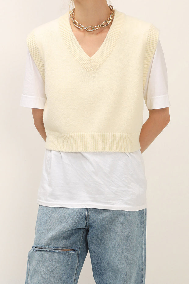 Diana Cropped Knit Vest