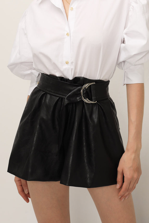 storets.com Journey Pleather Belted Shorts