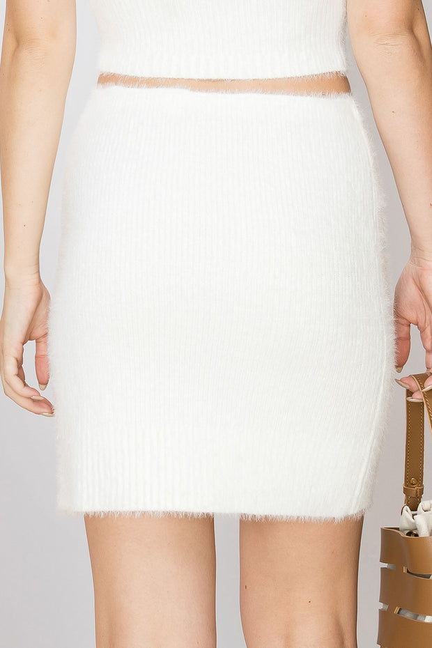 storets.com Stella Slit Fuzzy Sweater Skirt-2 Colors