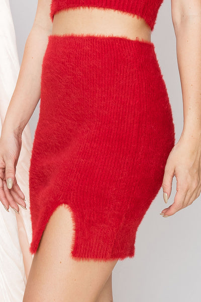 Stella Slit Fuzzy Sweater Skirt-2 Colors