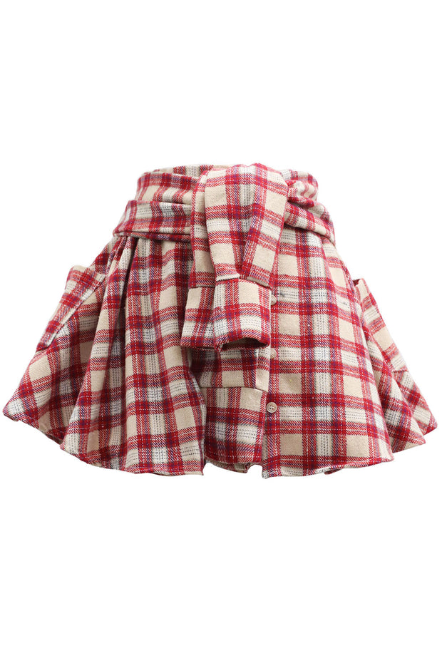 Lia Shirt Sleeve Tie Plaid Skort