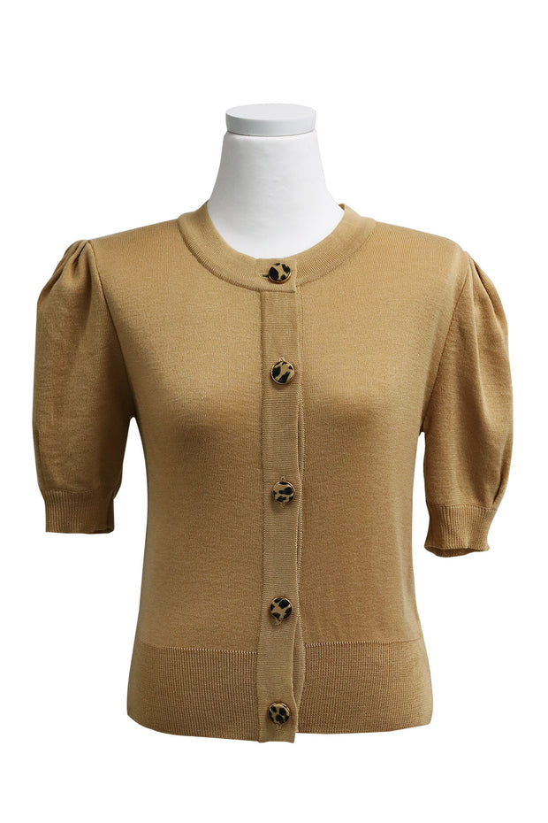 Lucy Buttoned Cardigan w/Puff Sleeve